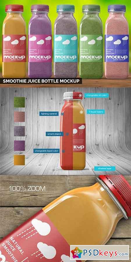Smoothie Juice Bottle Mockup 2737854