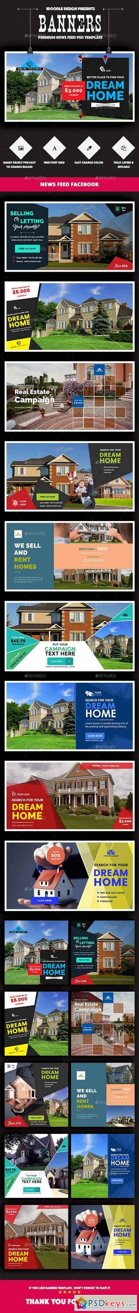 Facebook Real Estate Banners Ads - 20 PSD [2 Size Each] 16136352