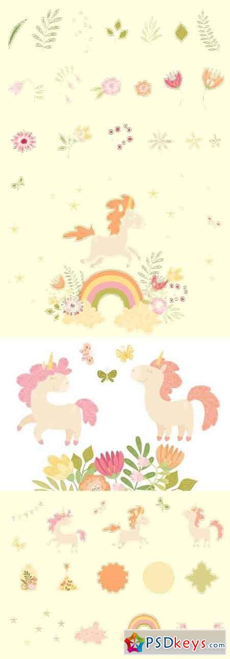Unicorns and Florals Vector Collection