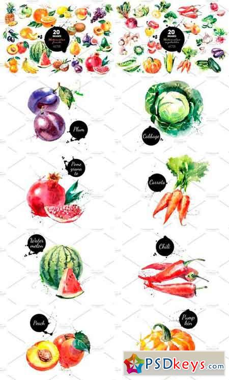 Watercolor Fruits and Vegetables Vector Bundle