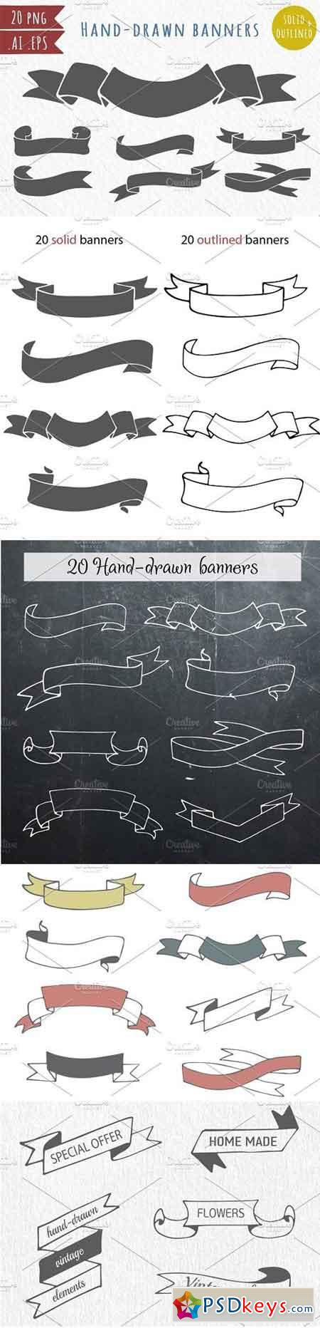20 hand-drawn vector banners 515888