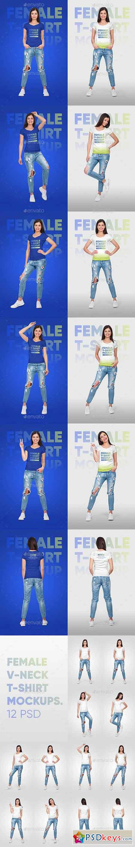 Female Vneck Tshirt Mockup Vol2 22124031