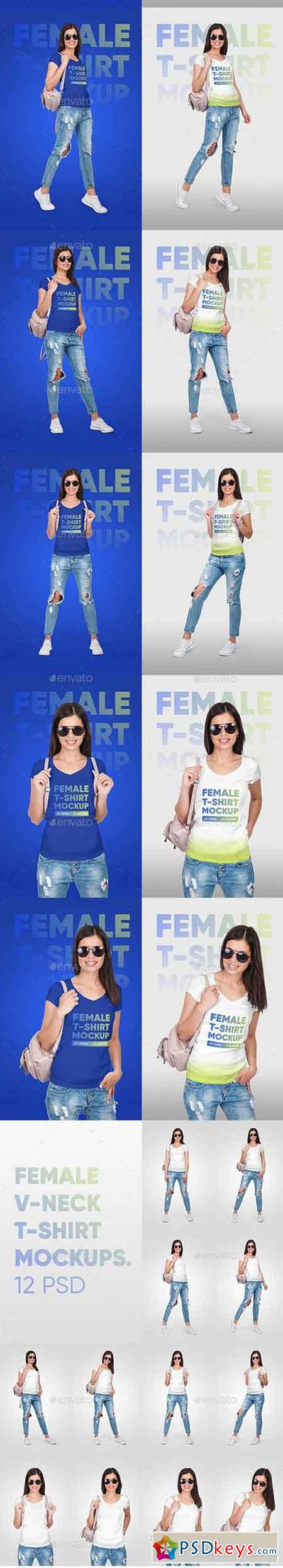 Female Vneck Tshirt And Backpack Mockups 22114447