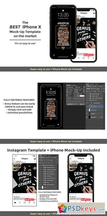 Instagram Template & iPhone X Mock 2543180