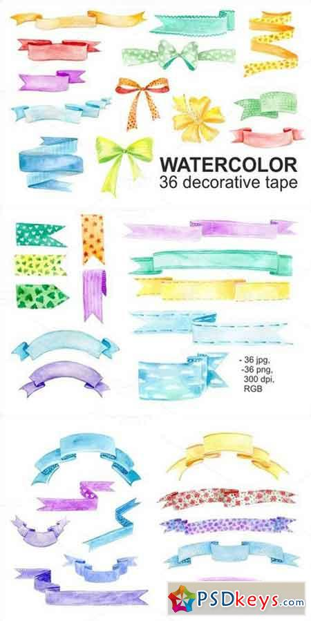 Watercolor 36 decorative tape