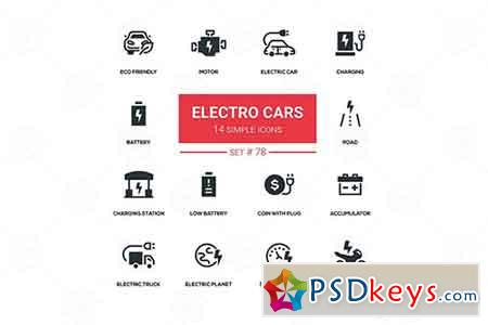Electro cars - line design silhouette icons set