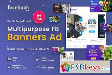 Multipurpose Facebook Banner Ads - 64 PSD