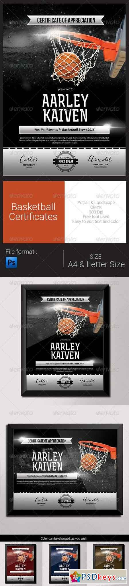 Basketball Certificates 8292977