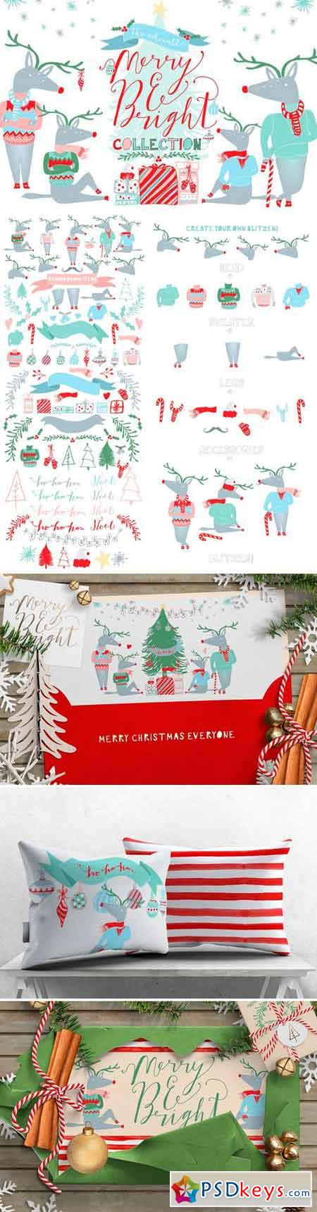 Merry and Bright Christmas Clipart 421466