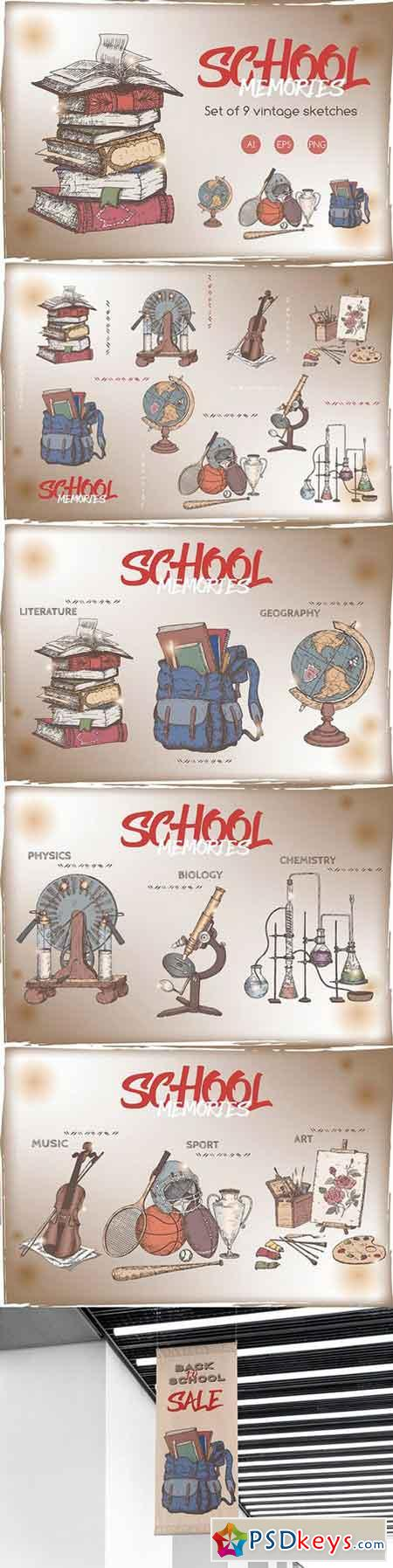School memories vintage sketch set 2544333
