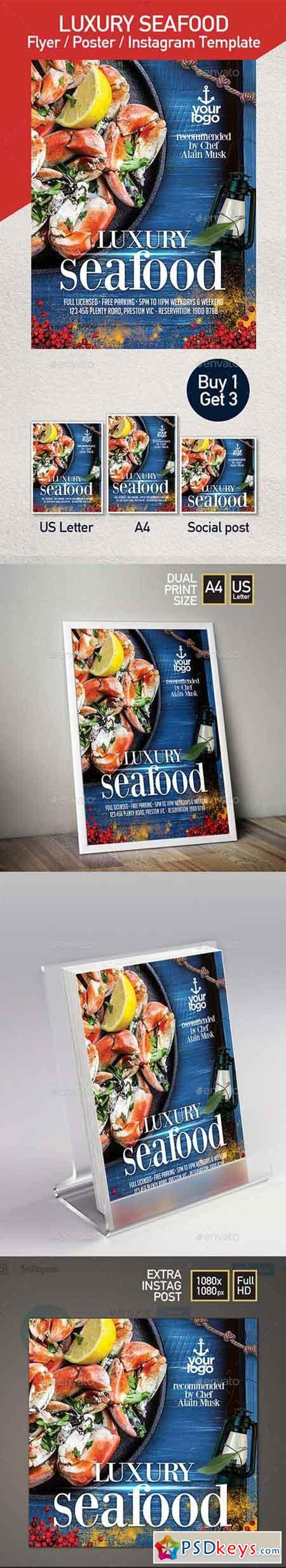 Seafood Restaurant - Set of 3 Flyer Templates 22314497