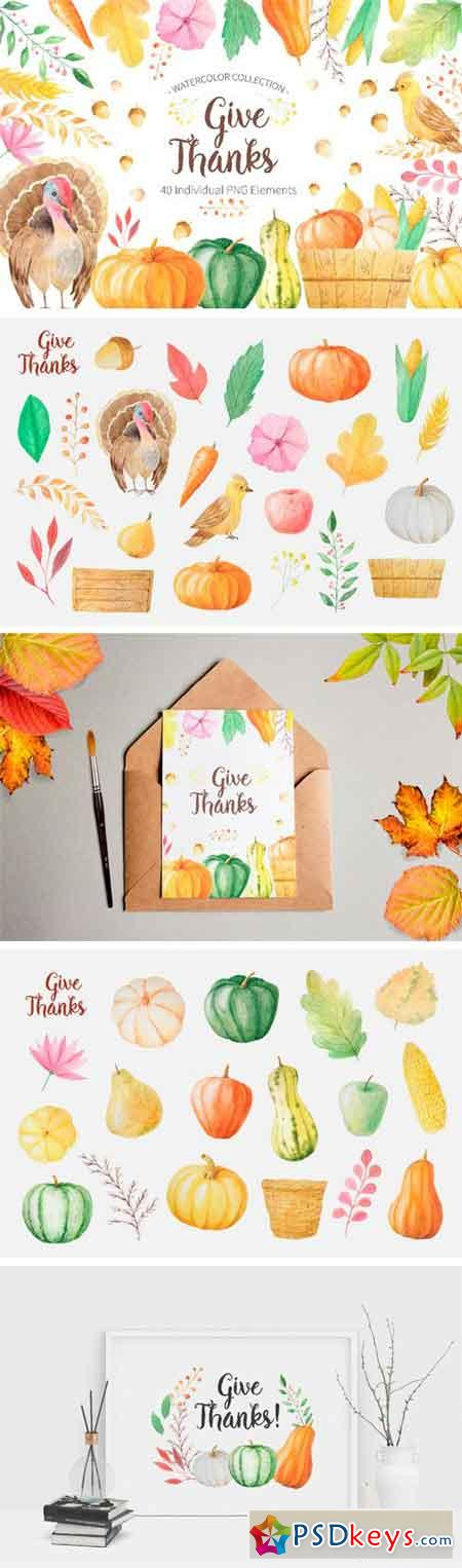 Watercolor Thanks Giving 41565