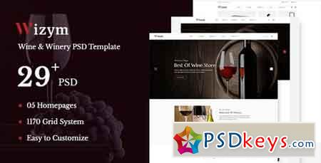Wizym Wine & Winery PSD Template - 22288689