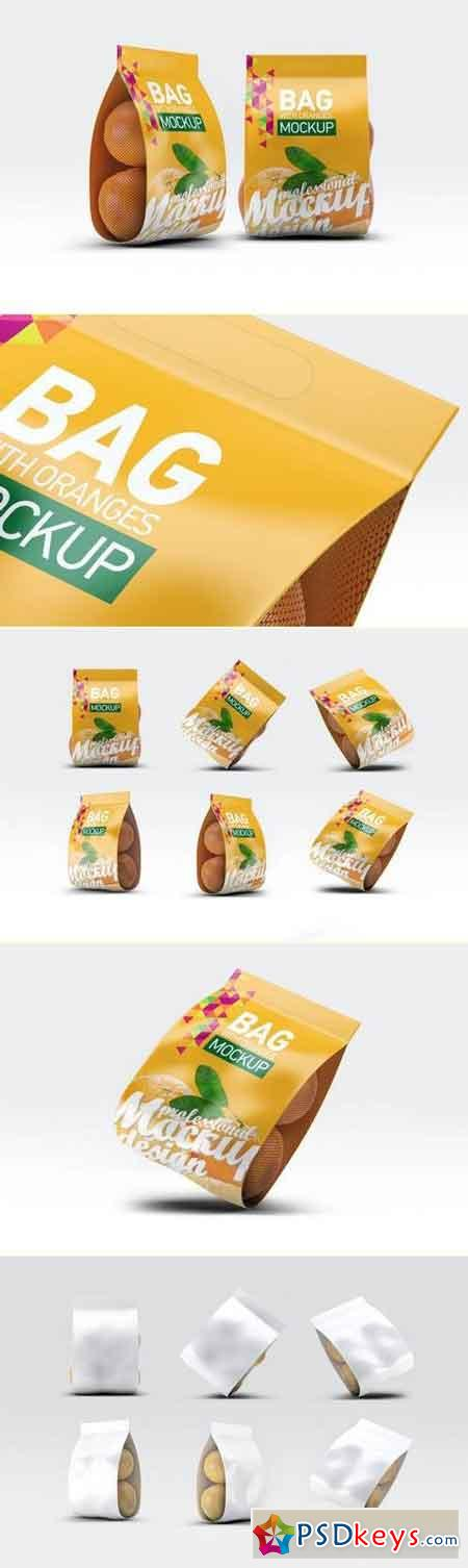 Bag with Oranges Mockup