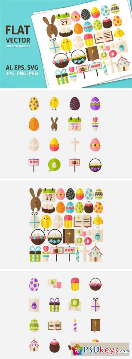 Happy Easter Vector Isolated Objects 69202