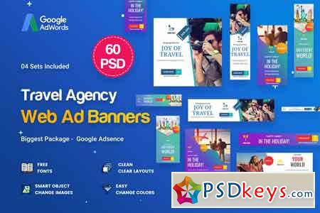 Travel Agency Banner Ads - 45 PSD [03 Sets]