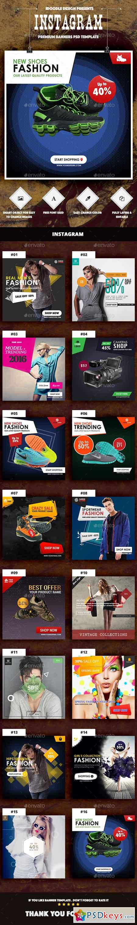 Instagram Product Banners Ads - 16 PSD 14526801