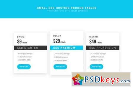 SSD Hosting Small Pricing Tables - PSD
