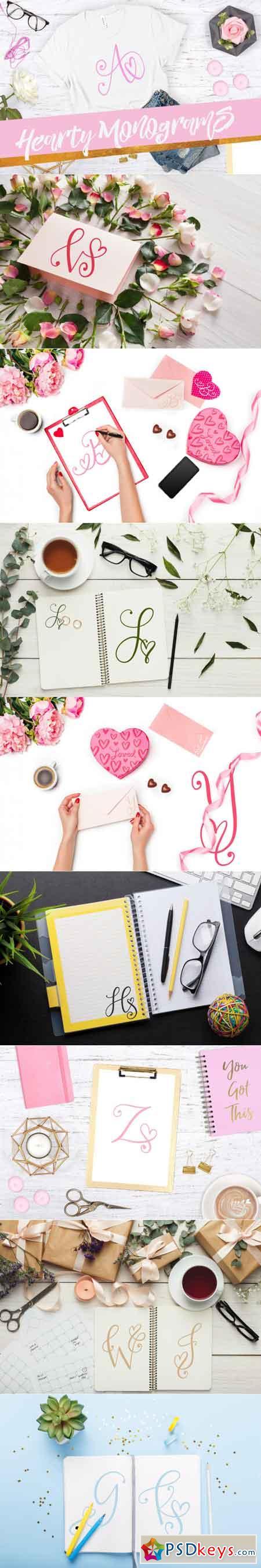 Hearty Monograms - Hand Lettered Monogram Font 3474809