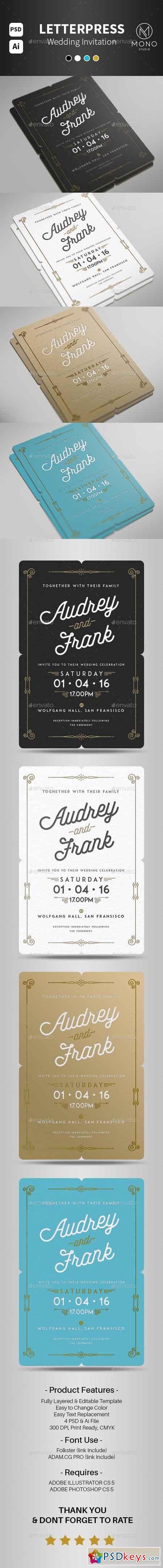 Letterpress Wedding Invitation 14145268