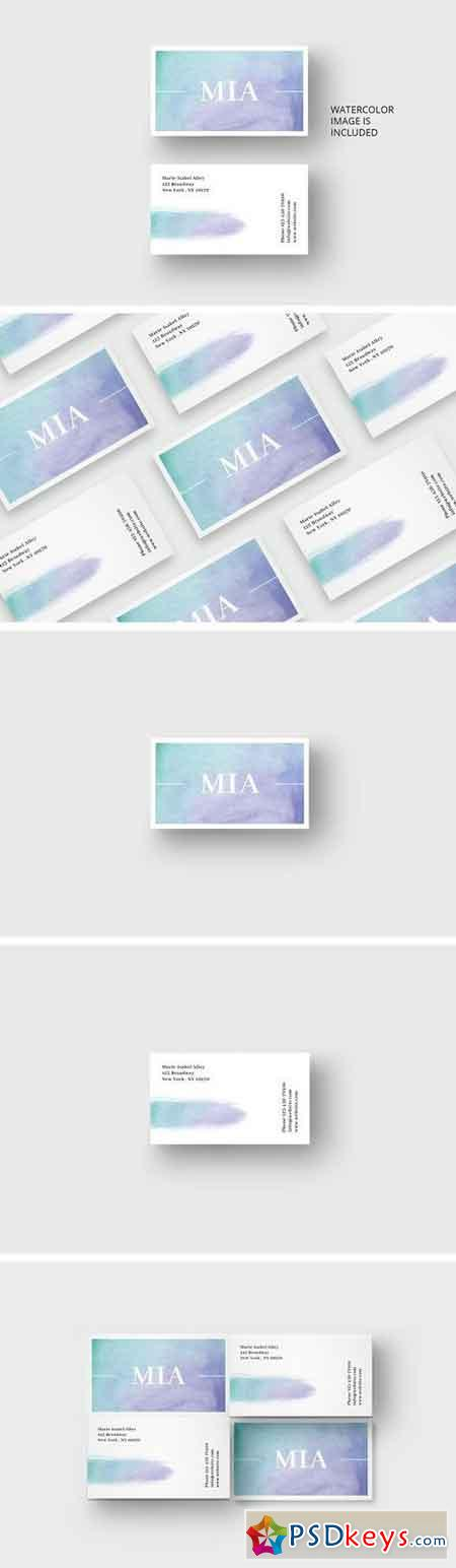 Watercolor business card template 1688131