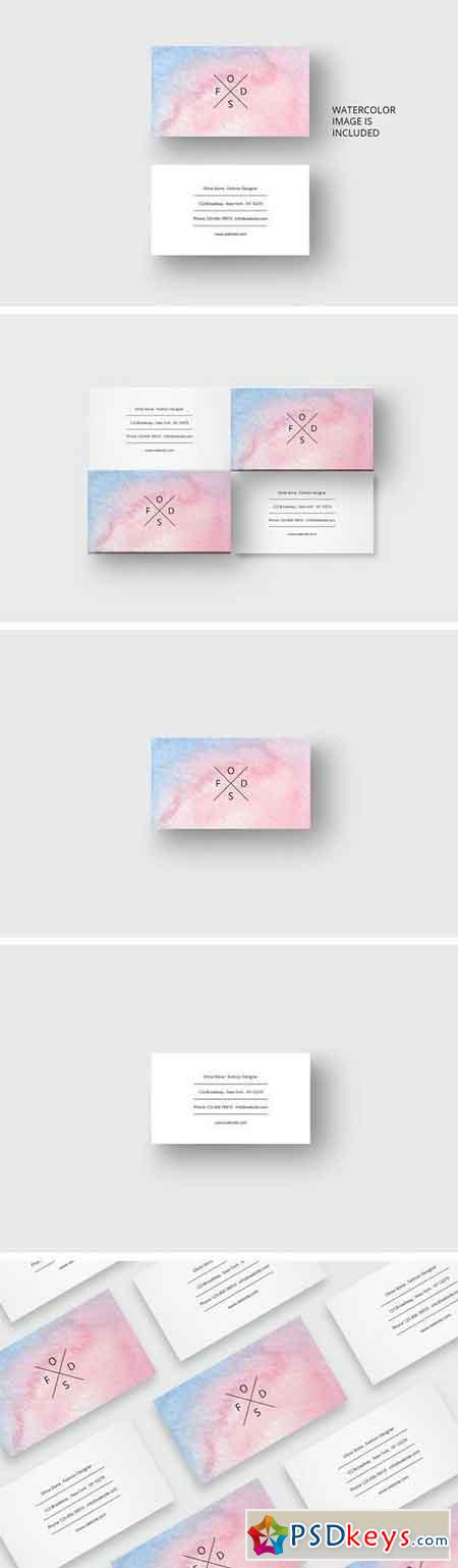 Watercolor business card template 1697628