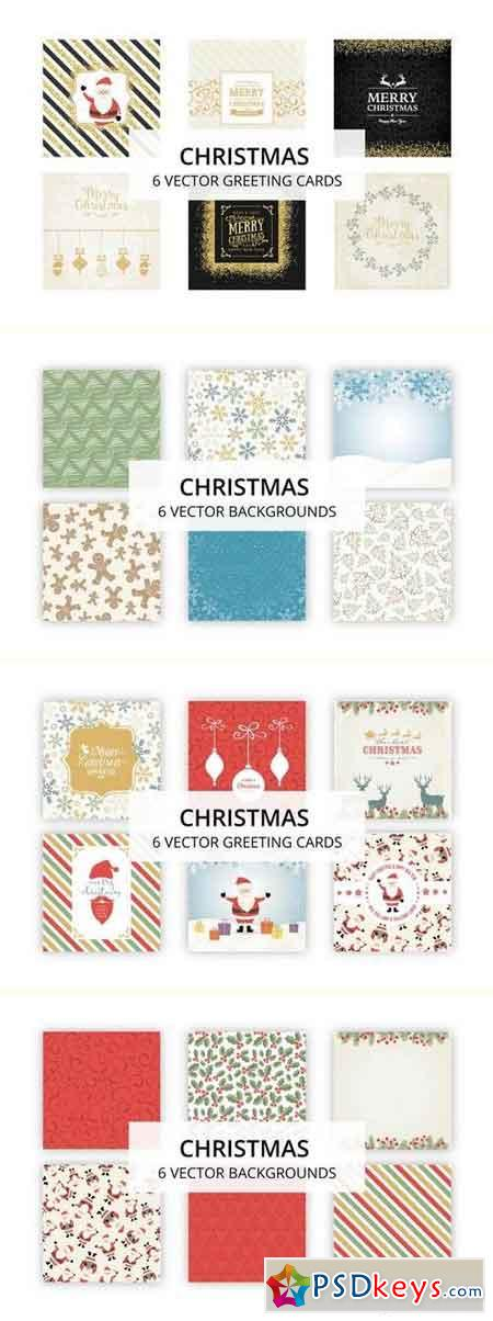 18 Golden Christmas Cards Backgrounds