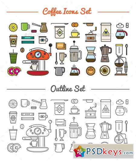 Great 32+32 Vector Coffee Icons Set 10498144