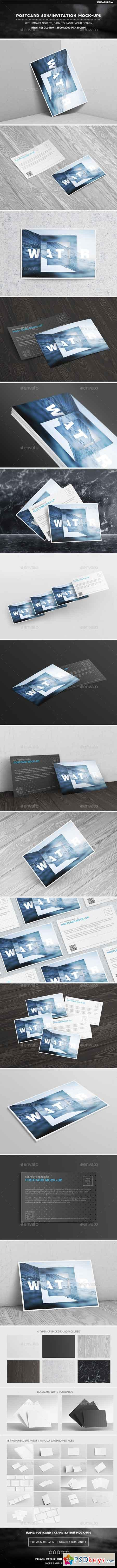 Photorealistic 6x4 Postcard & Invitation Mock-Ups 15597544