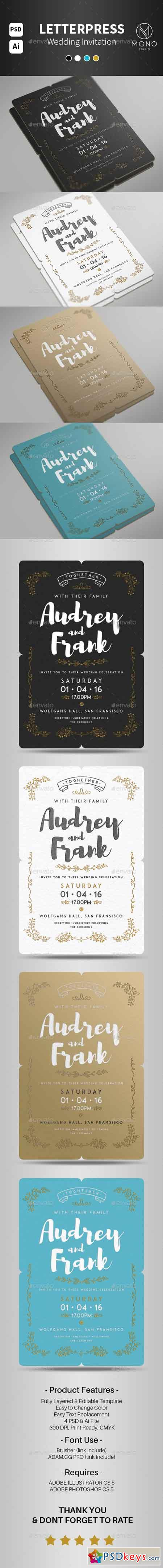 Letterpress Wedding Invitation Set 2 14440021