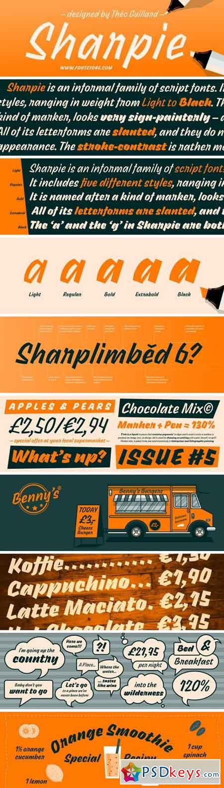 Sharpie Font Family - 5 Fonts