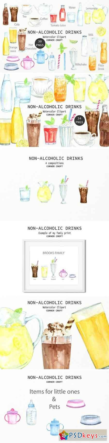 Watercolor non-alcoholic drinks 2263588