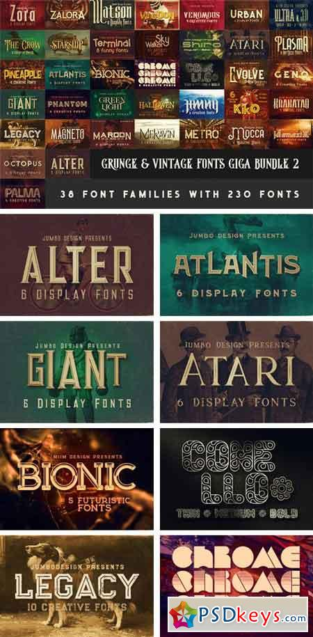 Download Grunge & Vintage Fonts Giga Bundle 2 » Free Download ...