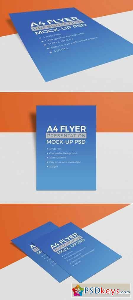 Premium Quality A4 Size Flyer Resume Mockup PSD Set