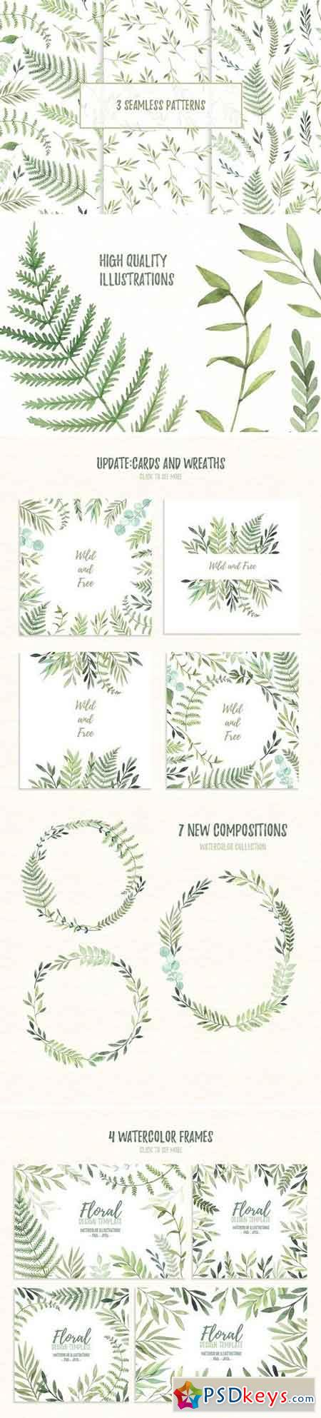 Wild leaves clip art. Watercolor set 1465949
