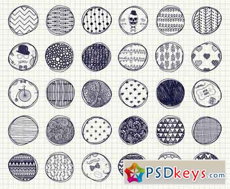 32 Pen Drawing Seamless Patterns 118766