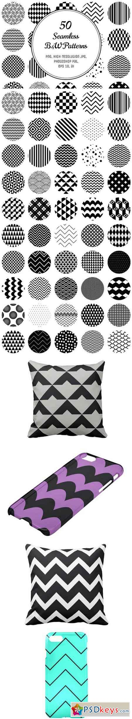 50 Geometric B&W Patterns 70325