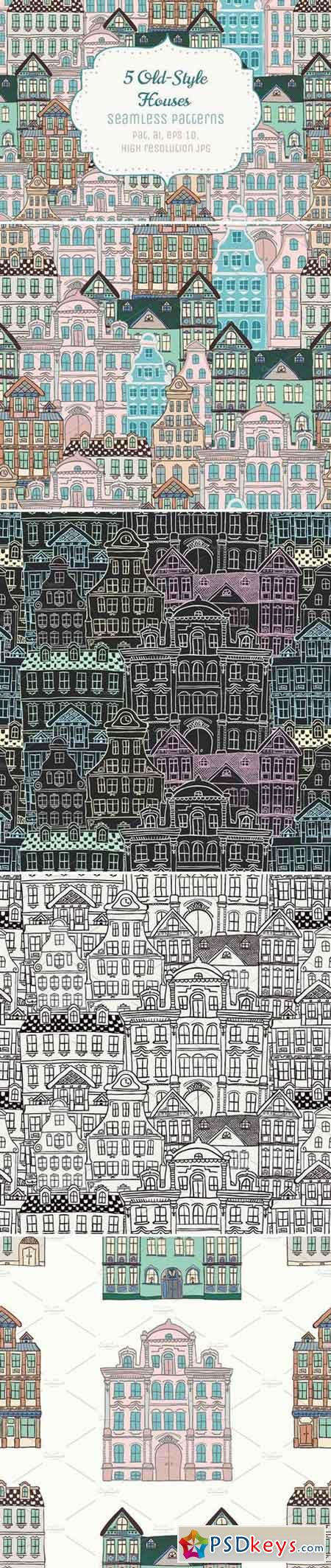 5 Doodle Seamless Patterns 71804