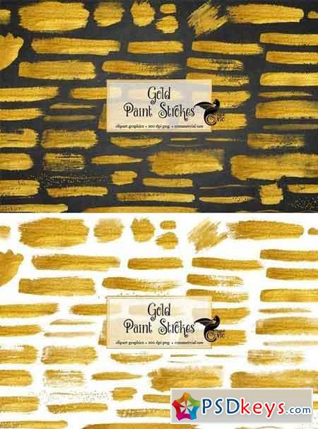 60 Gold Paint Strokes 339755