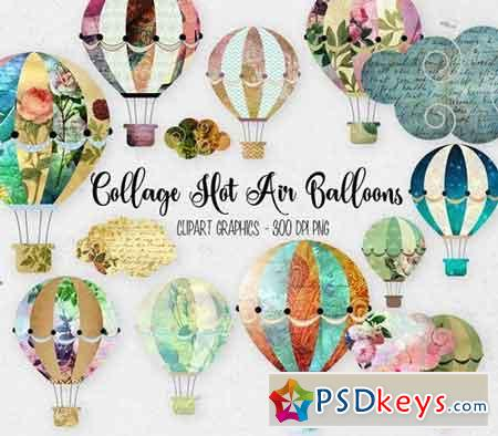 Collage Hot Air Balloon Clipart 270855