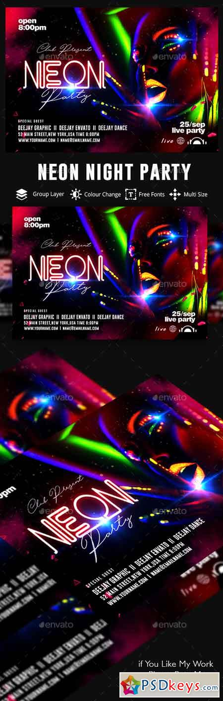 Neon Party Flyer 22471665