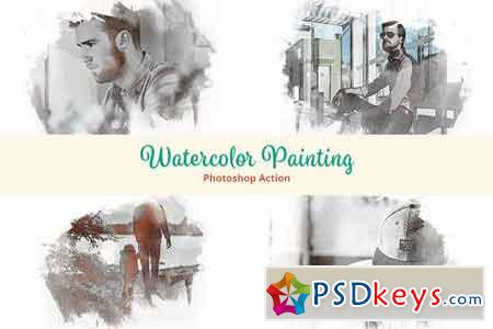 Watercolor Painting Photoshop Action 2821013