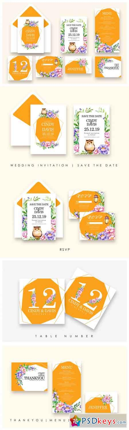 Flowers and Bird - Wedding Invitation As.8 3482457