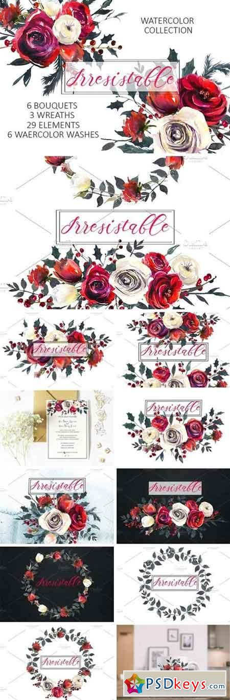 Red Roses Watercolor Clipart Set 1076143