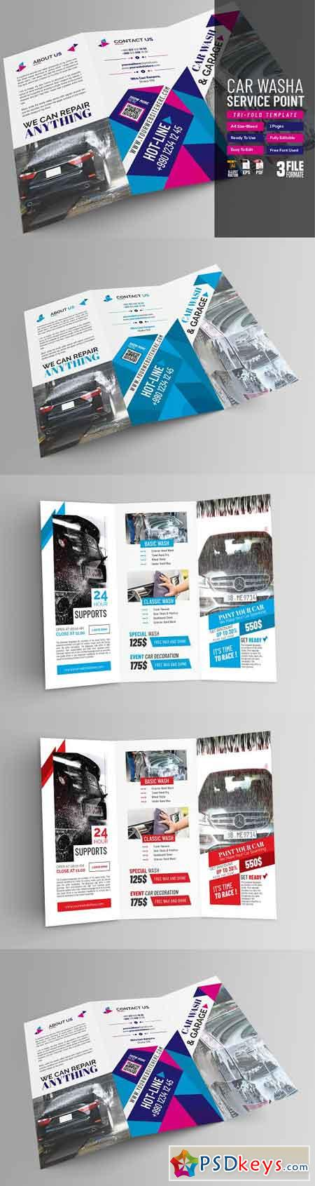 Car Wash Service Tri Fold Brochure 2768480