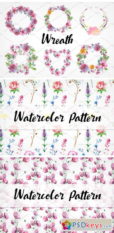 Wild Flowers Watercolor PNG Set 932555