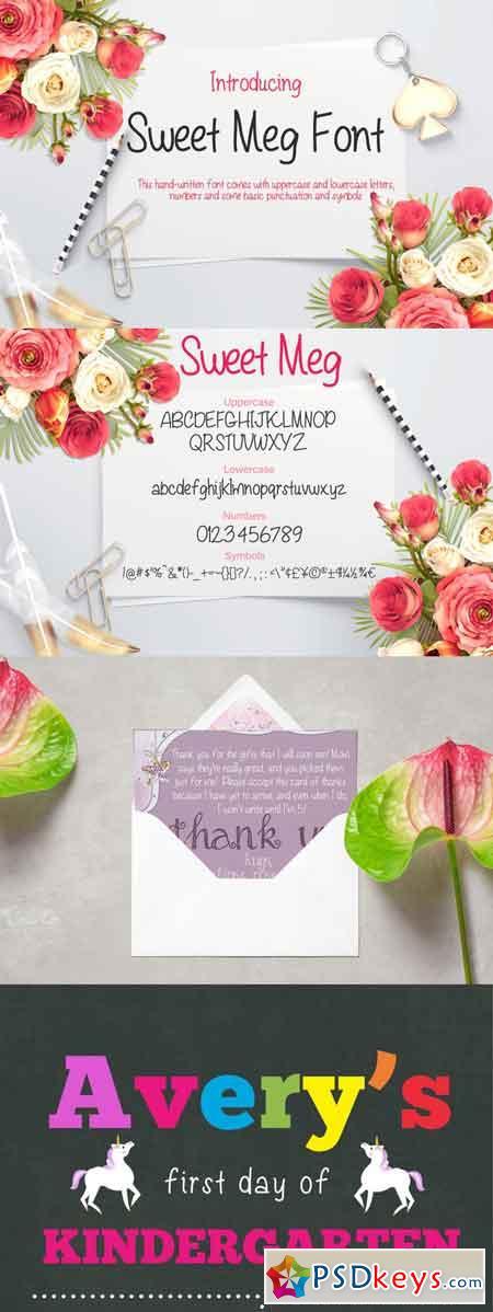 Sweet Meg - a Handwritten font 3484075