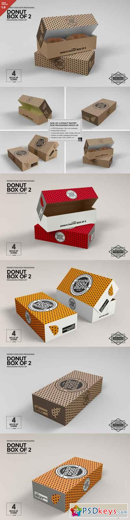 Box of Two Donut Pastry Box Mockup 3485014