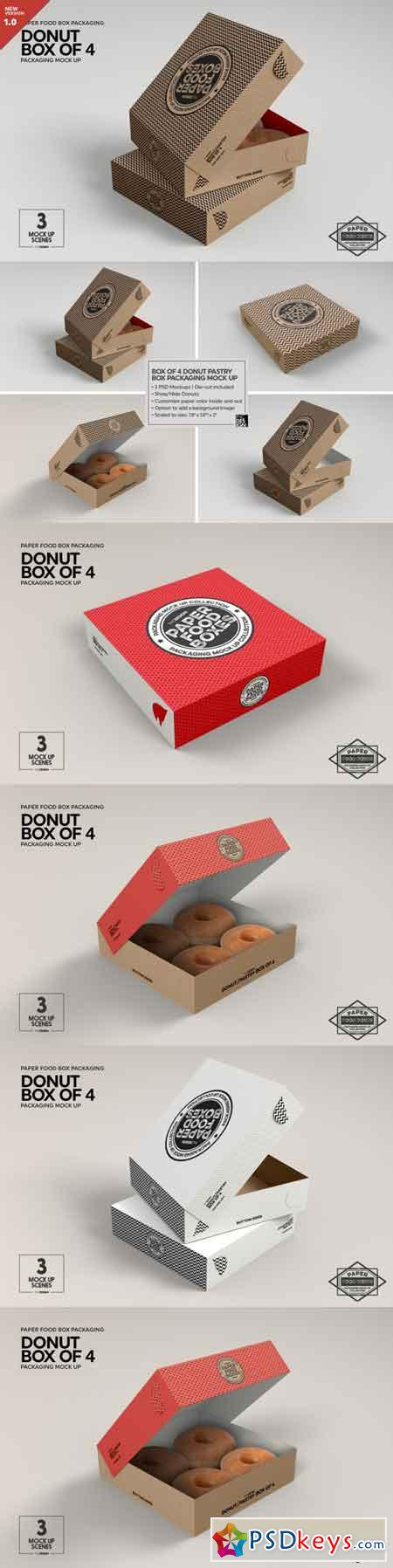Box of Four Donut Pastry Box Mockup 3485118