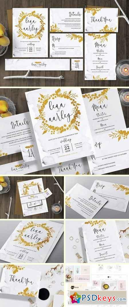 Golden Foliage Wedding Invitation 2907389